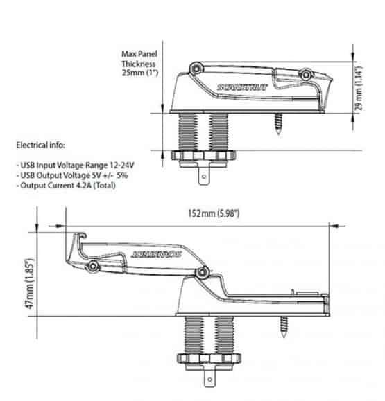 scanstrut rokk dubbel usb waterproof 12 volt stopcontact