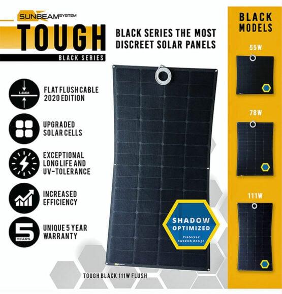 tough sunbeamsystem black serie beloopbaar zonnepaneel