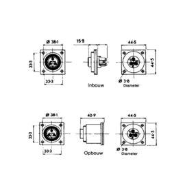 Waterdicht Stopcontact inbouw opbouw 2-polig